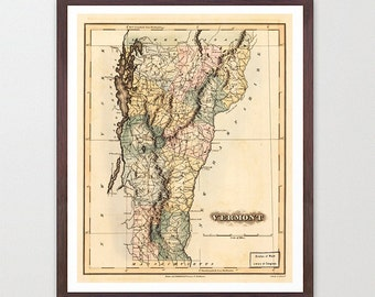 Vermont Map - Map Art - Map Decor - State Map - Vermont Art - Vermont Decor - Vermont Wall Art - Old Map - Map Wall Decor - Vermont