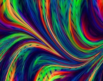 Artist Luxurious Minky Fabric Fiber Art Mixed Media Peacock Abstract