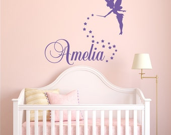 Girls Name Wall Decal  Fairy Wall Decal   Personalized Name Wall Decal  Girls Bedroom Decor