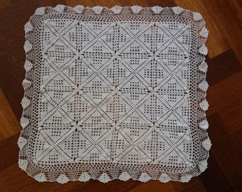 Vintage square ivory crochet table topper or doiley. Proceeds to charity VACD Ltd