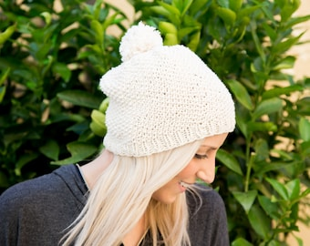 Simple slouchy beanie knitting pattern with pom pom