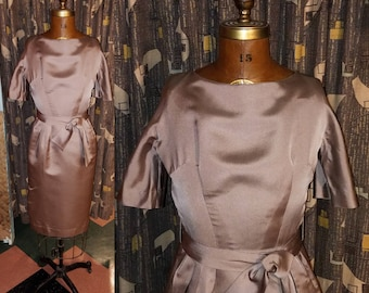 Vintage 1960's Martini Time 60's Satin Fitted Waist Bombshell Belted Waist Tan Cocktail Womens Dress - S