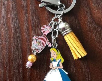 Alice in Wonderland and Cheshire Cat Charm Keychain