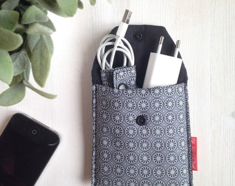 Cell phone charger Case-Grey case-battery holder