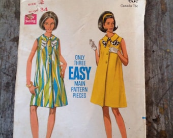 Vintage Butterick Sewing Pattern 4802 Maternity Dress Size 12 Bust 34