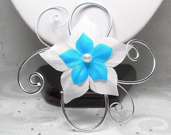 Fascinator comb - ladies - Pic - Blandine wedding ornament aluminum and flower wedding hair fascinator