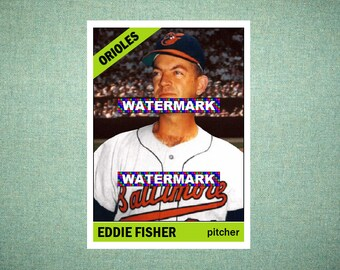 "Eddie Fisher Baltimore Orioles Custom Baseball Card 1966 Style ""Card That Could Have Been"" by MaxCards Mint Condition 2018"