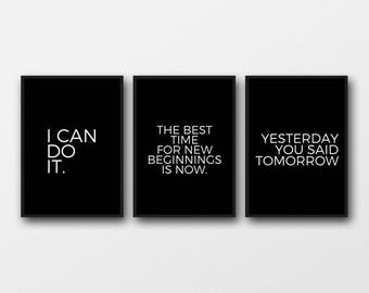Motivational posters set Motivational quotes Print set Fitness motivation I can do it Fitness printable You can do it art I can do it art