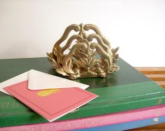 Vintage Brass Letter Holder, Letter Sorter, Hollywood Regency Brass Decor