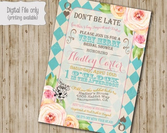 Alice in Wonderland Bridal shower Invitation, Alice in Wonderland Baby shower tea party invitation, Vintage floral Mad Hatter invite