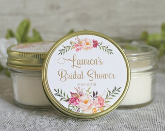 Blush and gold bridal shower favors / Set of 12 - 4 oz candle favors / boho inspired bridal shower / rose favor / boho wedding /