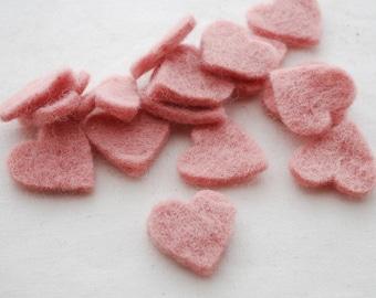 100% Wool Felt Heart Die Cut - 28mm - 100 Count - Dusty Rose Pink