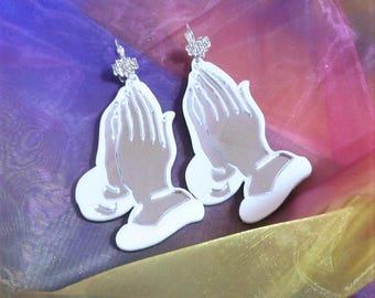 White & Mirror Silver SINNERZ PRAYER Acrylic Praying Hands Earrings with Silver Rhinestone Bow Wrap Around Earring Hooks // French Ear Wire