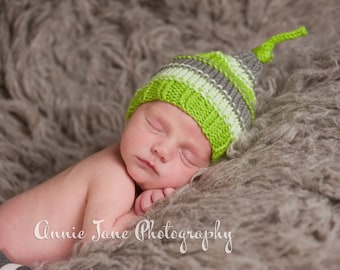 Textured Sleeping Cap - Newborn Knit Knot Hat - Green Stripes - Every day use - Photography Prop