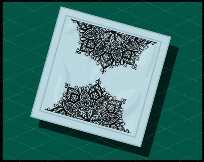 CLN0734C Split Half Mandala Hand Drawn Intricate Boho Sign SVG DXF Ai Eps PNG Vector Instant Download COmmercial Cut File Cricut Silhouette