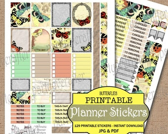 Printable Planner Stickers Instant Download Printable Stickers Butterflies