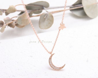 CZ Pave Crescent Moon with Tiny Star Pendant Necklace