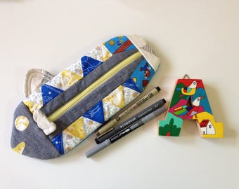 Quilted Fish pencil case/ makeup pouch