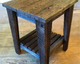 Custom made barn wood side table