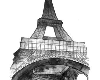 Eiffel Tower in Paris,  Watercolor Painting Print in Navy Blue - navy home decor, paris wall art print