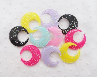 6pcs - Pretty Confetti Crescent Moon Fairy Kei Mix Flatback Decoden Cabochon (49mm) MON001
