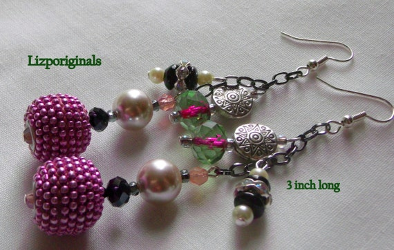 Statement earrings - stylish tassel earrings - berry earrings -  Club earrings - Resort wear - pink crystal earrings - Lizporiginals