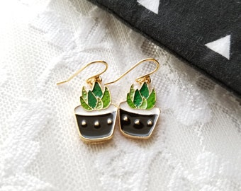 Succulent Earrings, Succulent Earrings, Succulent Planter, Succulent Pot, Succulent Plant, Succulent Gift, Plant Jewelry, Miniature Plants