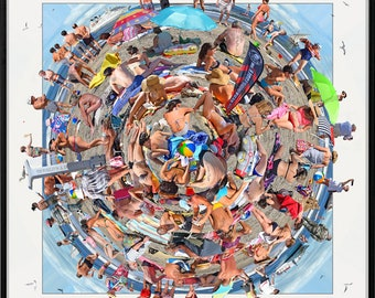 The World's A Beach. Amazing 360 degree 'worlds apart' crowded beach scene.