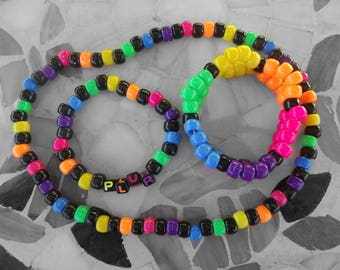 Black and Neon Rainbow Kandi Bracelet + Necklace Set