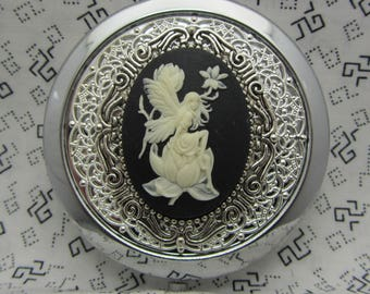 compact mirror with protective pouch - unique gifts for bridesmaids - gift for her - compact mirror mythical fairy