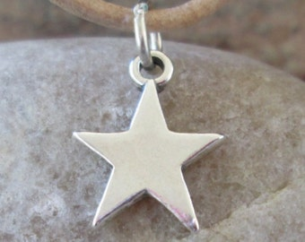 Sterling Silver Star Charm Celestial Night Sky Pendant Nice Thickness 16 MM 1 Holiday Star