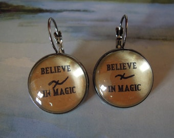 BELIEVE in MAGIC, Glass tile and Metal, Earrings or RIng, on Tea Stained Paper , Word Jewelry