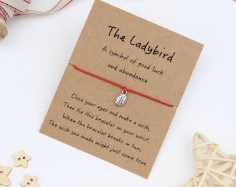 Ladybird Wish Bracelet, Ladybug Wish Bracelet, Ladybird Bracelet, Ladybug Bracelet, Ladybird Jewellery, Ladybug Jewellery, Ladybird Gift