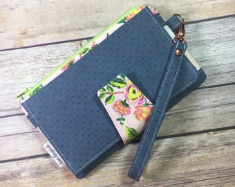 Pearl Clutch, Pink Floral, Rifle Paper Co, Swoon Pearl, Vintage Inspired, Clutch Wallet with Wrist Strap, Bifold Wallet