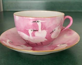 Vintage Cup & Saicer with Egret / Crane / Bird Motif
