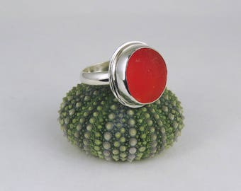 Cherry Red UV English Sea Glass Bezel Ring Maine Size 7