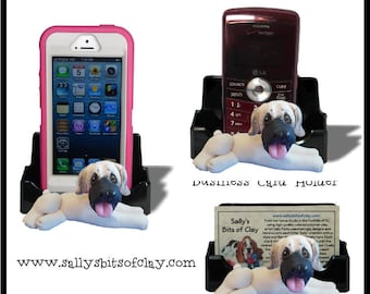 English Mastiff Dog Holder for Cell Phone IPod IPhone or Business Cards OOAK by Sally's Bits of Clay