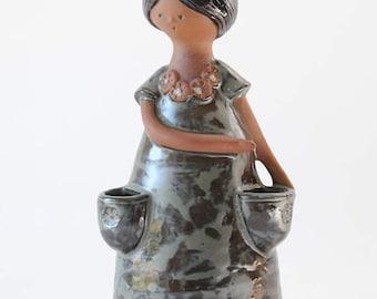 Flower girl modern ceramic figurine. Girl Bud Vase. Scandinavian modern design