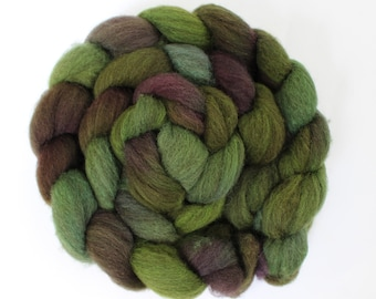 4oz BFL Mixed Blue Faced Leicester 'Deep in the Woods' Combed Top Roving Dyed Wool Spinning Fiber Indie