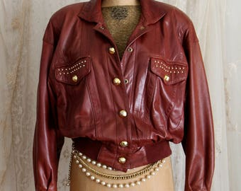 Vintage Escada Jacket / Embellished Jacket / Leather / Bomber Jacket / Studded / Size M/L