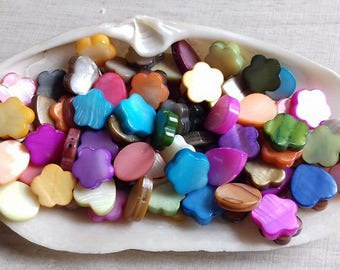 mother of Pearl varied shape 8-10 mm 15 beads