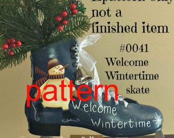 EPATTERN, #0041 Welcome Wintertime skate, tole painting pattern, painting patterns, christmas pattern, snowman pattern, decorative painting
