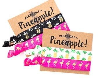 Hair Tie Bachelorette Favor   Pineapple + Flamingo Hair Tie Favors, Tropical Luau Beach Bachelorette Hair Tie Favors, Flamingo Bachelorette