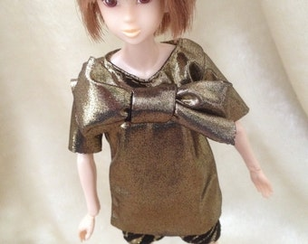 MOMOKO golden half sleeves top with matched black leopard shorts by Jing's Crafts