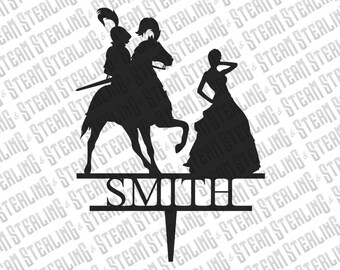 Wedding Cake Topper Personalized Knight and His Maiden Silhouette Laser Cut LGBT Gay Lesbian Friendly