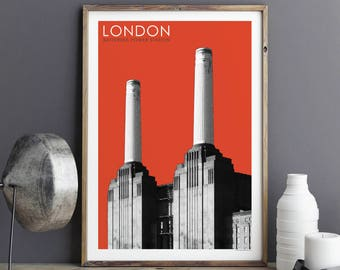 City Prints, London Wall Art Print, Travel Prints, Battersea Power Station, Architectural prints, Fine Art Print, A3 Prints, A2 Prints