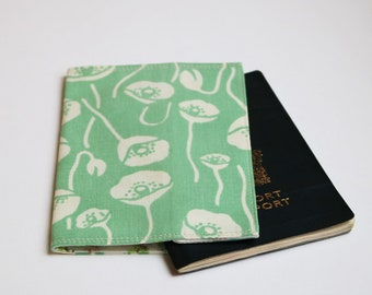 Passport Cover, Fabric Passport Cover, Green Poppies, Travel Accessory, Handmade by Knotted Nest on Etsy