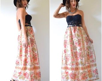 Vintage 60s 70s Lady of the Canyon High Waisted A Line Floral Organza Maxi Skirt (size medium, large)