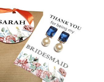 Pearl bridesmaid earrings. Blue and pearl earrings. Wedding earrings. Bridal earrings. Bridesmaid gifts. Bridesmaid jewelry. Gift for her.