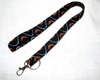 Lanyard Black Orange Swirls ID Badge Carrier Lobster Clasp & Split Ring Key Carrier